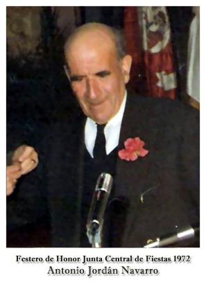 1972 Antonio Jordán Navarro - Festero de Honor JCF.